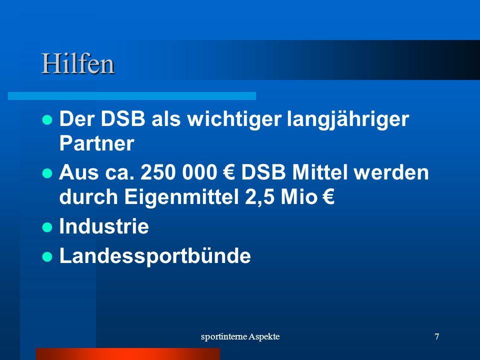 sportinterne Aspekte7 Hilfen Der DSB als wichtiger langjähriger Partner Aus ca.
