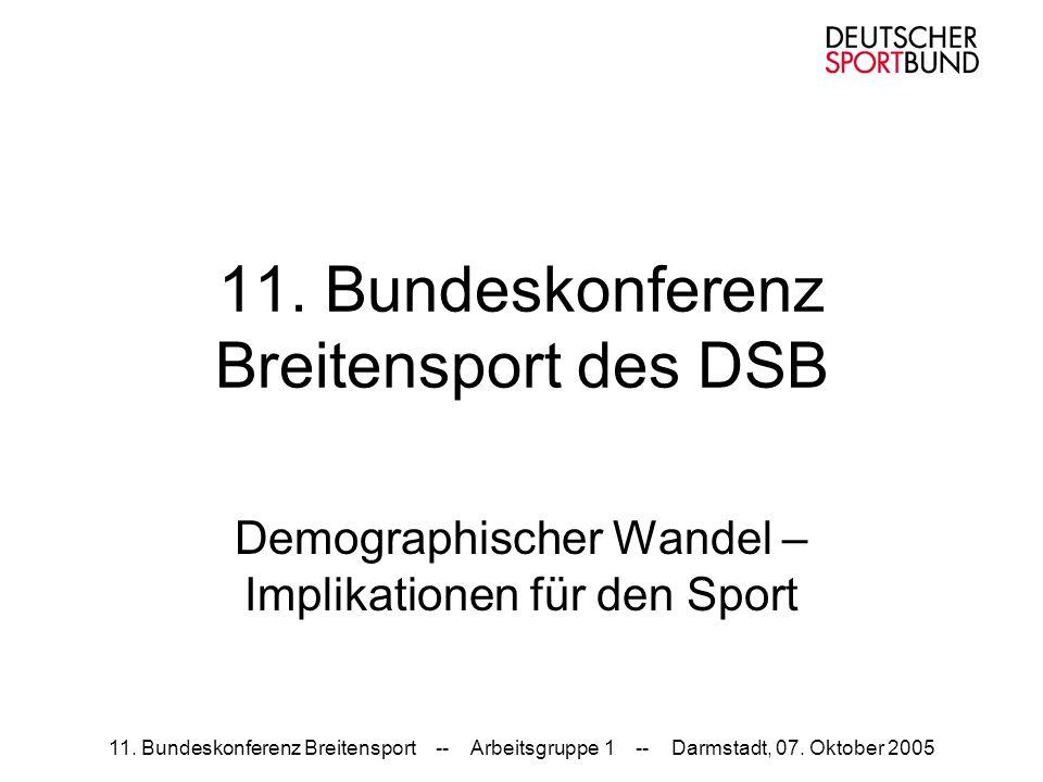 11. Bundeskonferenz Breitensport -- Arbeitsgruppe 1 -- Darmstadt, 07. Oktober 2005 11. Bundeskonferenz Breitensport des DSB Demographischer Wandel – I