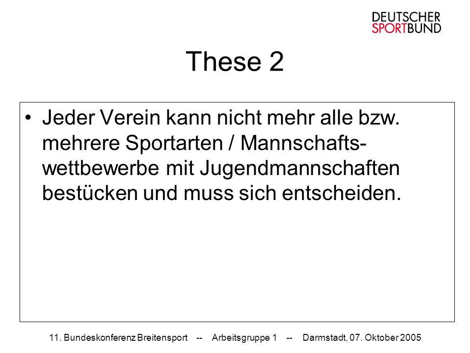11. Bundeskonferenz Breitensport -- Arbeitsgruppe 1 -- Darmstadt, 07. Oktober 2005 These 2 Jeder Verein kann nicht mehr alle bzw. mehrere Sportarten /