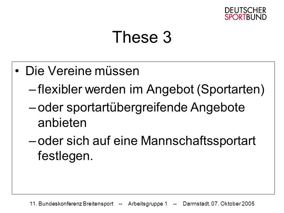 11. Bundeskonferenz Breitensport -- Arbeitsgruppe 1 -- Darmstadt, 07. Oktober 2005 These 3 Die Vereine müssen –flexibler werden im Angebot (Sportarten