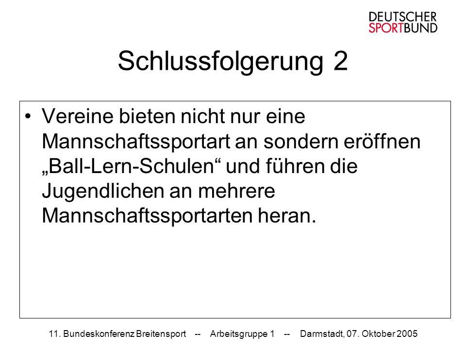 11. Bundeskonferenz Breitensport -- Arbeitsgruppe 1 -- Darmstadt, 07. Oktober 2005 Schlussfolgerung 2 Vereine bieten nicht nur eine Mannschaftssportar