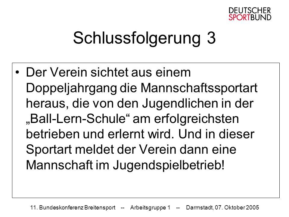 11. Bundeskonferenz Breitensport -- Arbeitsgruppe 1 -- Darmstadt, 07. Oktober 2005 Schlussfolgerung 3 Der Verein sichtet aus einem Doppeljahrgang die