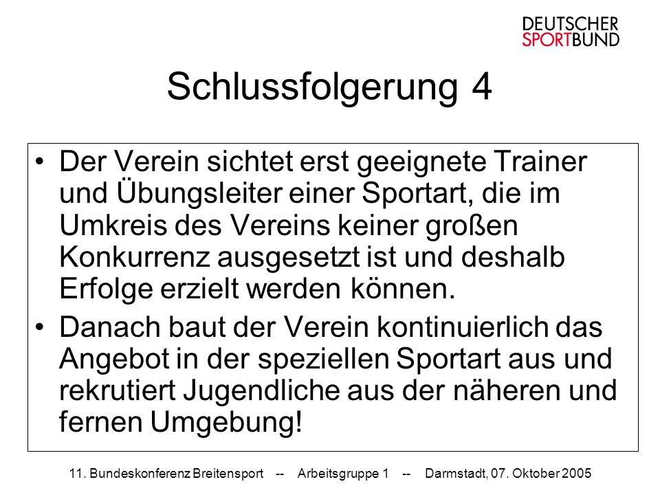11. Bundeskonferenz Breitensport -- Arbeitsgruppe 1 -- Darmstadt, 07. Oktober 2005 Schlussfolgerung 4 Der Verein sichtet erst geeignete Trainer und Üb