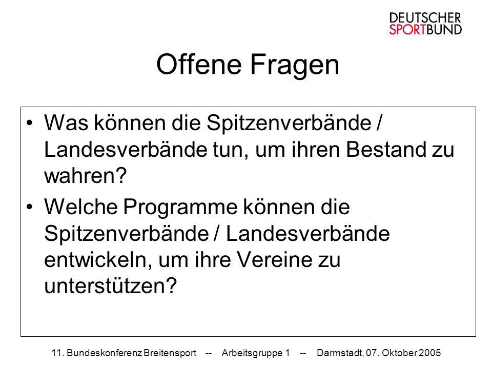 11. Bundeskonferenz Breitensport -- Arbeitsgruppe 1 -- Darmstadt, 07. Oktober 2005 Offene Fragen Was können die Spitzenverbände / Landesverbände tun,