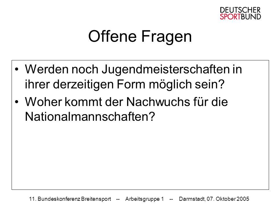 11. Bundeskonferenz Breitensport -- Arbeitsgruppe 1 -- Darmstadt, 07. Oktober 2005 Offene Fragen Werden noch Jugendmeisterschaften in ihrer derzeitige