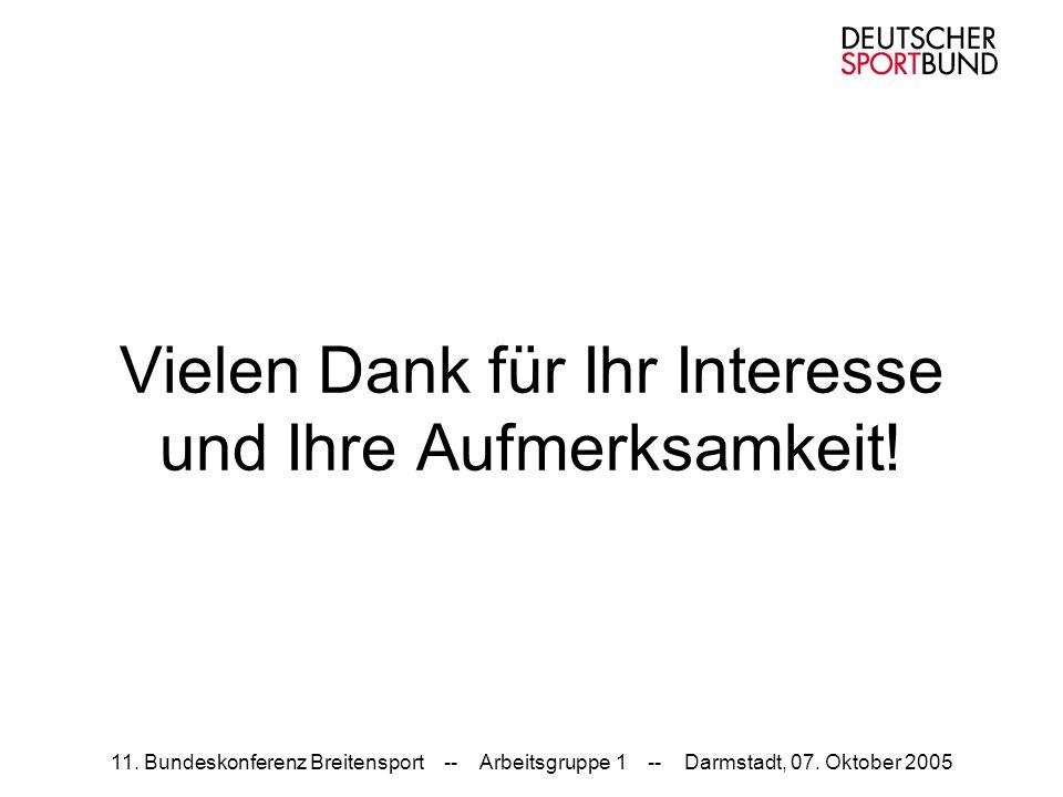 11. Bundeskonferenz Breitensport -- Arbeitsgruppe 1 -- Darmstadt, 07. Oktober 2005 Vielen Dank für Ihr Interesse und Ihre Aufmerksamkeit!