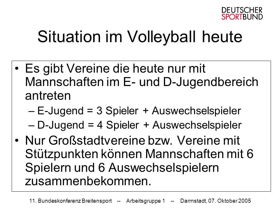 11. Bundeskonferenz Breitensport -- Arbeitsgruppe 1 -- Darmstadt, 07. Oktober 2005 Situation im Volleyball heute Es gibt Vereine die heute nur mit Man