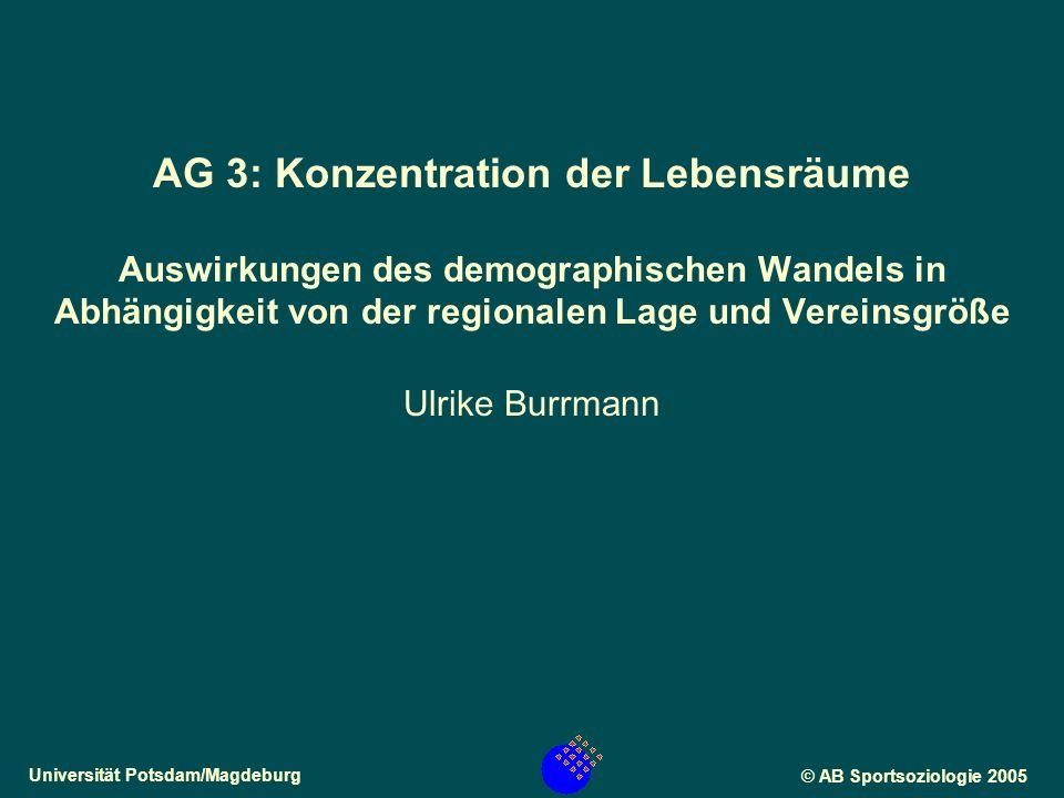 Universität Potsdam/Magdeburg© AB Sportsoziologie 2005 AG 3: Konzentration der Lebensräume Auswirkungen des demographischen Wandels in Abhängigkeit von der regionalen Lage und Vereinsgröße Ulrike Burrmann