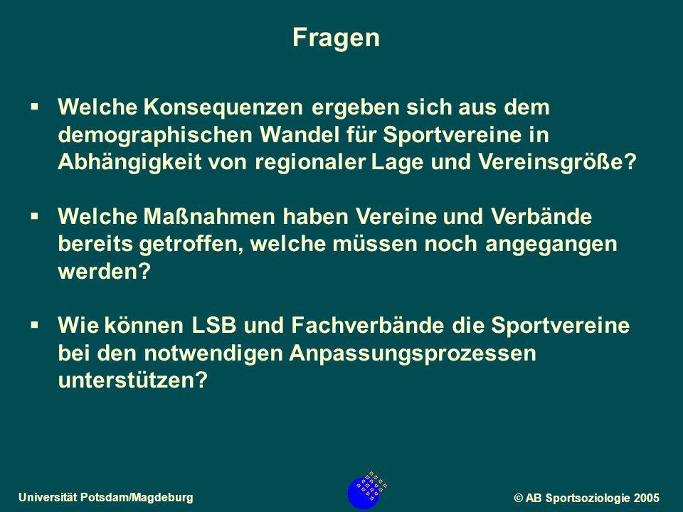 Universität Potsdam/Magdeburg© AB Sportsoziologie 2005 Welche Konsequenzen ergeben sich aus dem demographischen Wandel für Sportvereine in Abhängigkeit von regionaler Lage und Vereinsgröße.