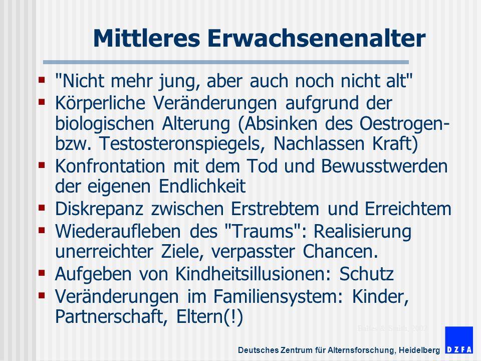 Deutsches Zentrum für Alternsforschung, Heidelberg Mittleres Erwachsenenalter Nicht mehr jung, aber auch noch nicht alt Körperliche Veränderungen aufgrund der biologischen Alterung (Absinken des Oestrogen- bzw.