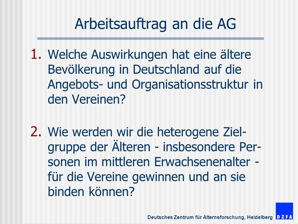 Deutsches Zentrum für Alternsforschung, Heidelberg Arbeitsauftrag an die AG 1.