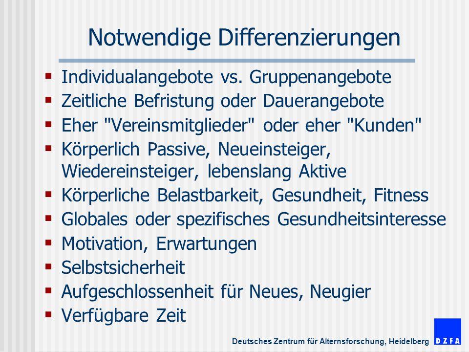 Deutsches Zentrum für Alternsforschung, Heidelberg Notwendige Differenzierungen Individualangebote vs.