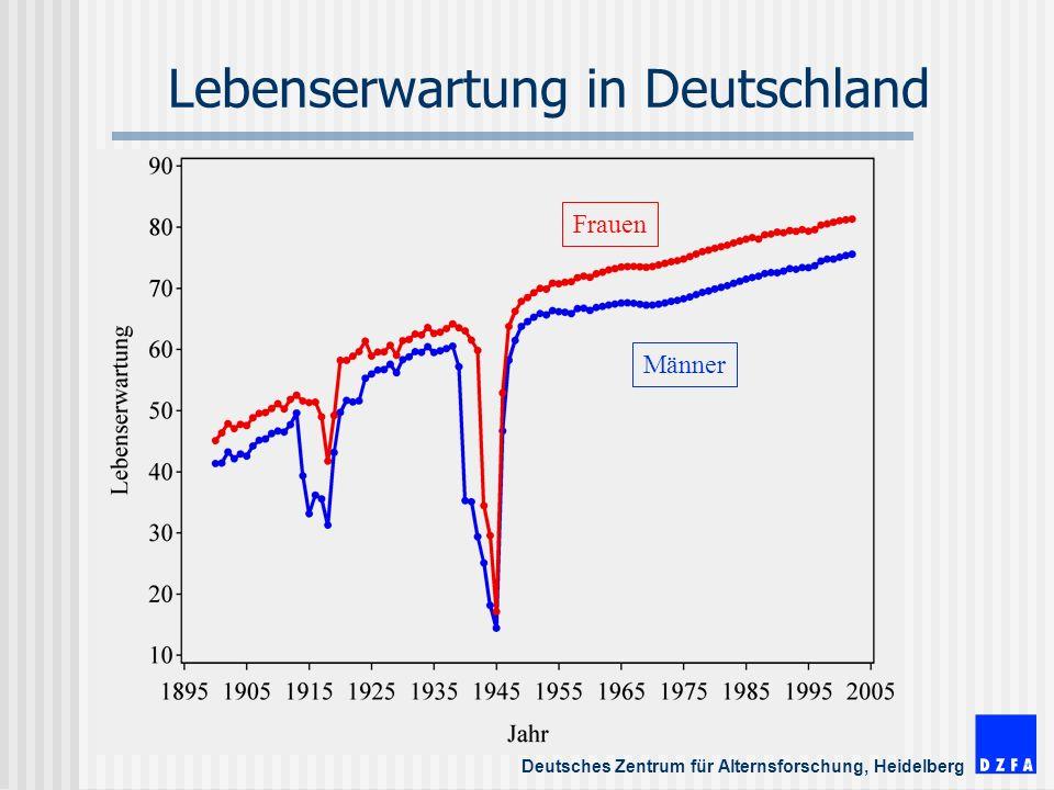 Deutsches Zentrum für Alternsforschung, Heidelberg Lebenserwartung in Deutschland Frauen Männer