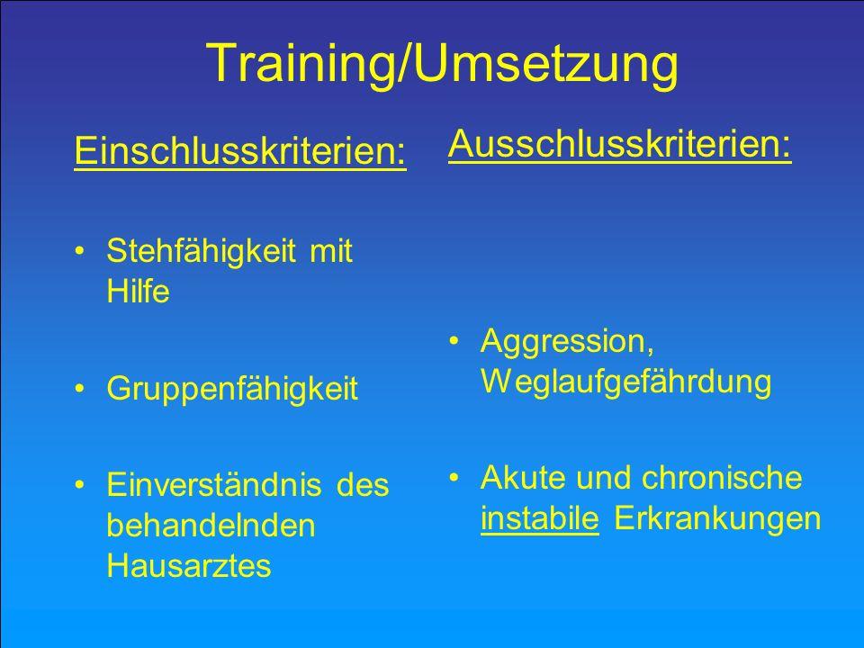Training/Umsetzung Einschlusskriterien: Stehfähigkeit mit Hilfe Gruppenfähigkeit Einverständnis des behandelnden Hausarztes Ausschlusskriterien: Aggre