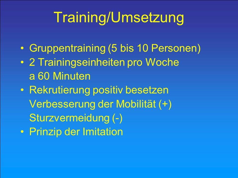 Training/Umsetzung Gruppentraining (5 bis 10 Personen) 2 Trainingseinheiten pro Woche a 60 Minuten Rekrutierung positiv besetzen Verbesserung der Mobi