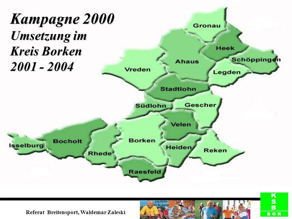 Kampagne 2000 Umsetzung im Kreis Borken 2001 - 2004 Referat Breitensport, Waldemar Zaleski