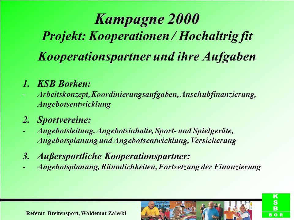 Kooperationspartner und ihre Aufgaben 1.KSB Borken: -Arbeitskonzept, Koordinierungsaufgaben, Anschubfinanzierung, Angebotsentwicklung 2.Sportvereine: