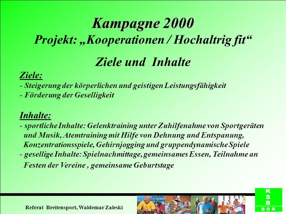 Kampagne 2000 Kampagne 2000 Projekt: Kooperationen / Hochaltrig fit Finanzierung 1.Völlige Übernahme der Kosten vom Träger (Borken) 2.Vereinsmitgliedschaft und Finanzierung im Rahmen des Rehabilitationssports (§ 44 SGB IX) (Gescher) 3.Gebührenpflichtiges Kursangebot (Borken) 4.Mischfinanzierung: o.g.