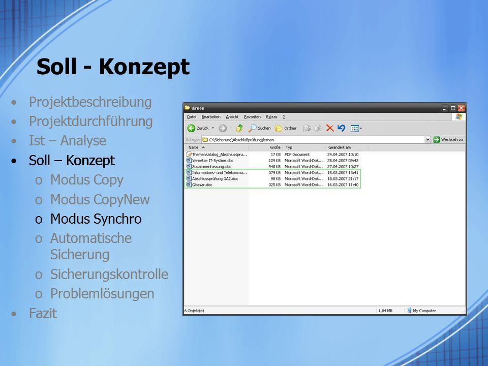 Projektbeschreibung Projektdurchführung Ist – Analyse Soll – Konzept oModus Copy oModus CopyNew oModus Synchro oAutomatische Sicherung oSicherungskont