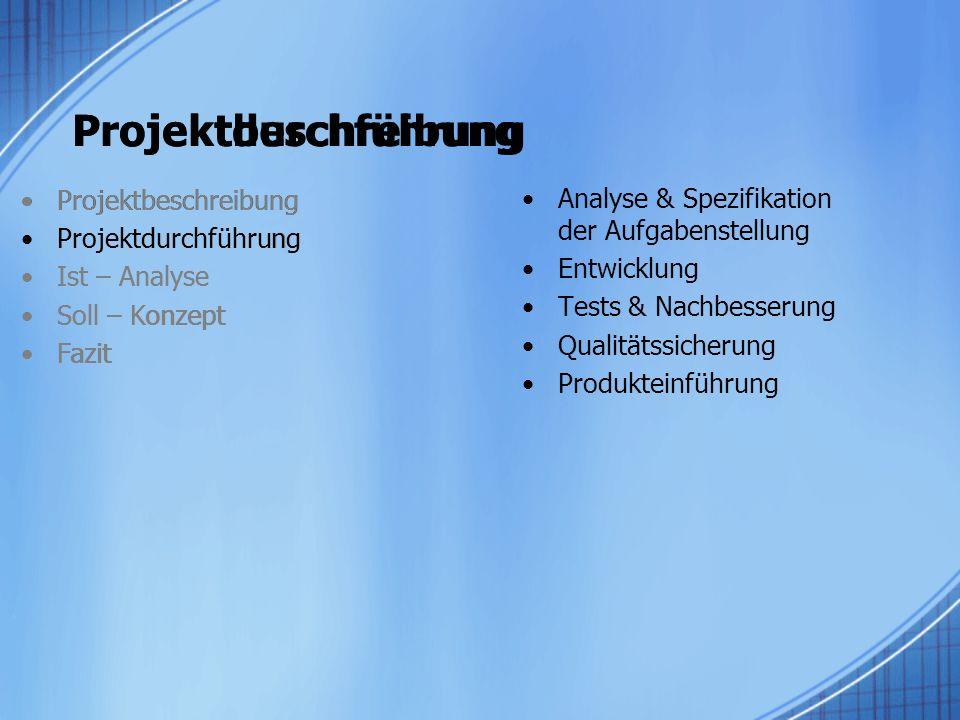 Projektdurchführung Analyse & Spezifikation der Aufgabenstellung Entwicklung Tests & Nachbesserung Qualitätssicherung Produkteinführung Projektbeschre