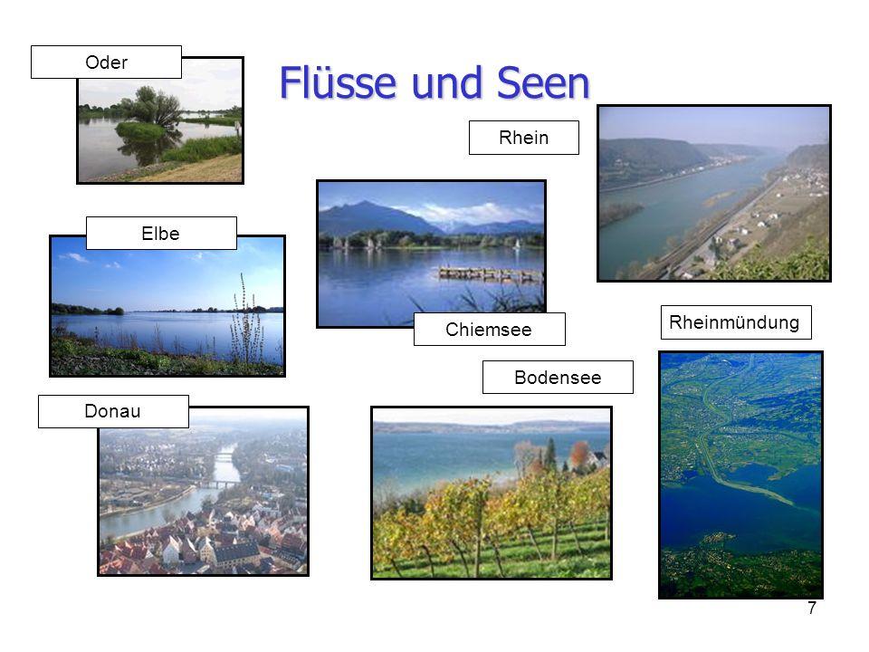 7 Flüsse und Seen Rheinmündung Rhein Bodensee Donau Oder Elbe Chiemsee