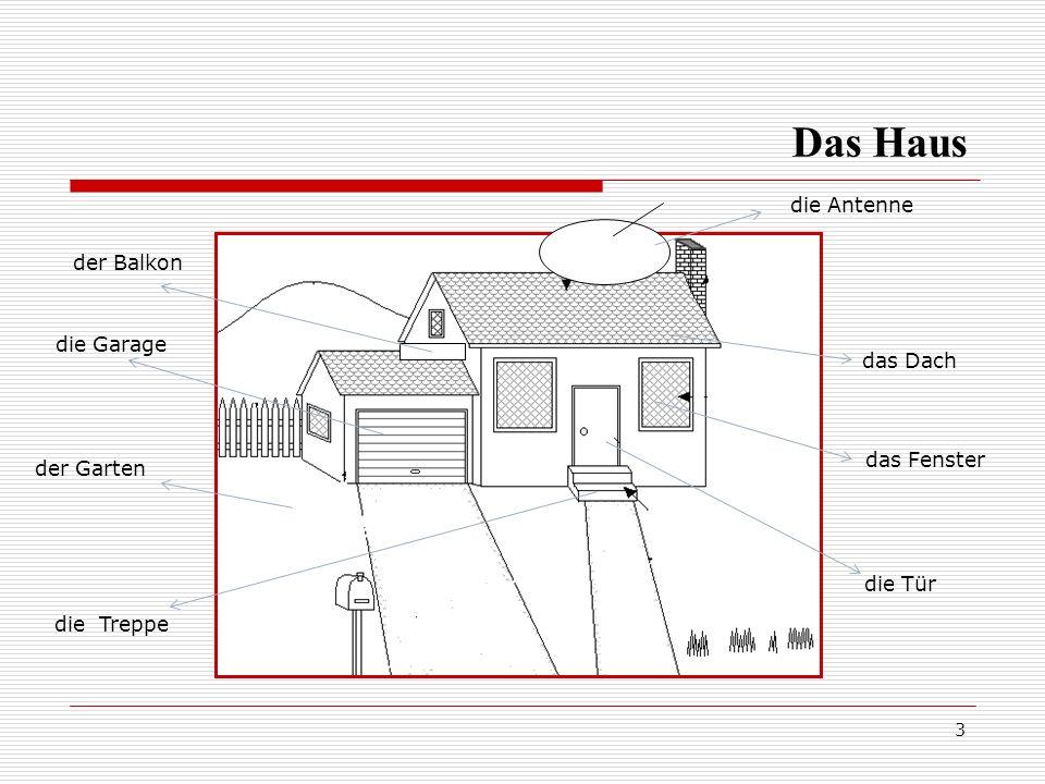 3 die Antenne das Dach das Fenster die Tür die Treppe der Garten die Garage der Balkon