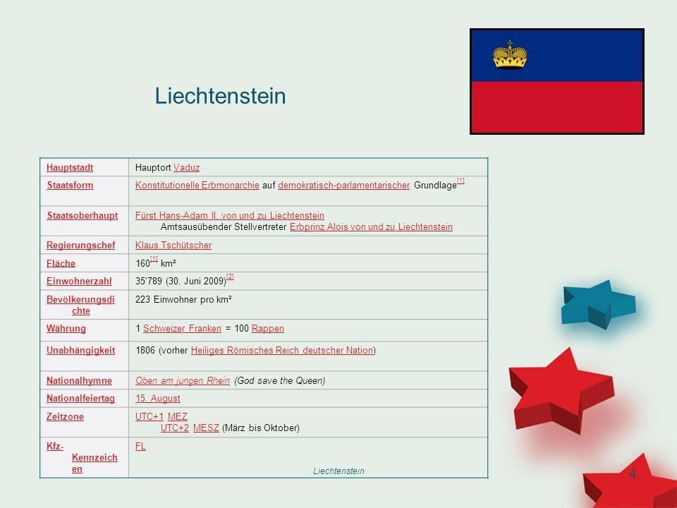 Liechtenstein 4 HauptstadtHauptort VaduzVaduz StaatsformKonstitutionelle ErbmonarchieKonstitutionelle Erbmonarchie auf demokratisch-parlamentarischer