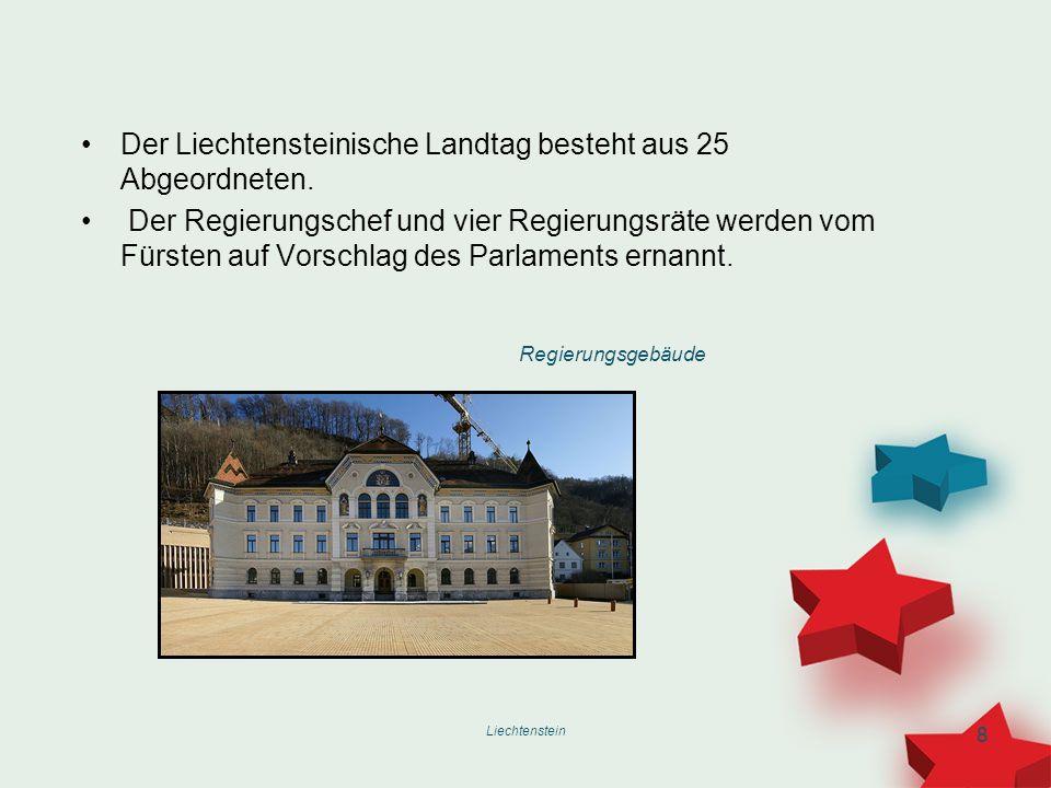 Liechtenstein 8 Der Liechtensteinische Landtag besteht aus 25 Abgeordneten. Der Regierungschef und vier Regierungsräte werden vom Fürsten auf Vorschla
