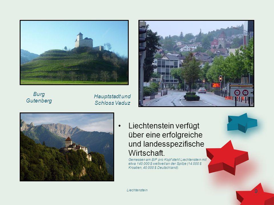 Liechtenstein 9 Liechtenstein verfügt über eine erfolgreiche und landesspezifische Wirtschaft. Gemessen am BIP pro Kopf steht Liechtenstein mit etwa 1
