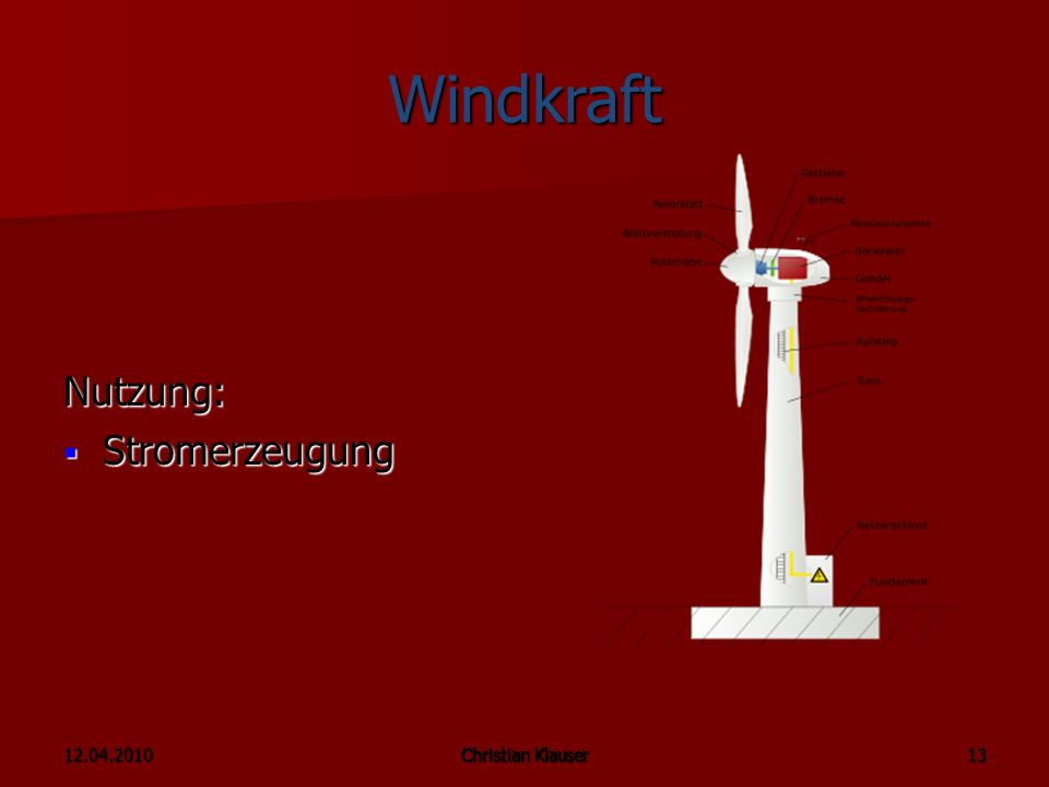 12.04.2010Christian Klauser Windkraft Nutzung: Stromerzeugung Stromerzeugung Christian Klauser 13