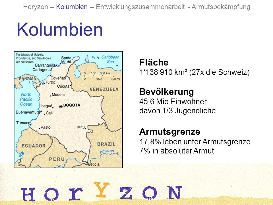 Fläche 1138910 km² (27x die Schweiz) Bevölkerung 45.6 Mio Einwohner davon 1/3 Jugendliche Armutsgrenze 17,8% leben unter Armutsgrenze 7% in absoluter Armut Kolumbien Horyzon – Kolumbien – Entwicklungszusammenarbeit - Armutsbekämpfung