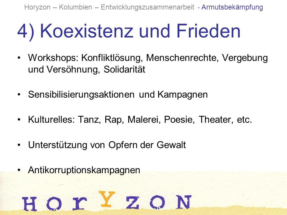 4) Koexistenz und Frieden Workshops: Konfliktlösung, Menschenrechte, Vergebung und Versöhnung, Solidarität Sensibilisierungsaktionen und Kampagnen Kulturelles: Tanz, Rap, Malerei, Poesie, Theater, etc.