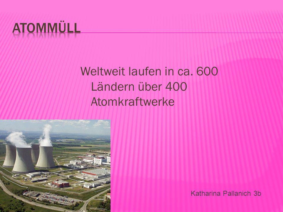 Weltweit laufen in ca. 600 Ländern über 400 Atomkraftwerke Katharina Pallanich 3b