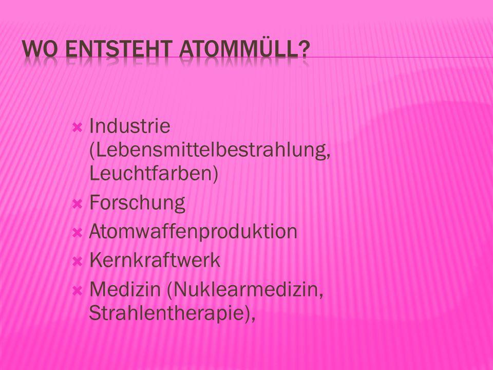 Industrie (Lebensmittelbestrahlung, Leuchtfarben) Forschung Atomwaffenproduktion Kernkraftwerk Medizin (Nuklearmedizin, Strahlentherapie),
