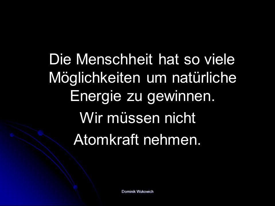 Die Menschheit hat so viele Möglichkeiten um natürliche Energie zu gewinnen. Wir müssen nicht Atomkraft nehmen. Dominik Wukowich