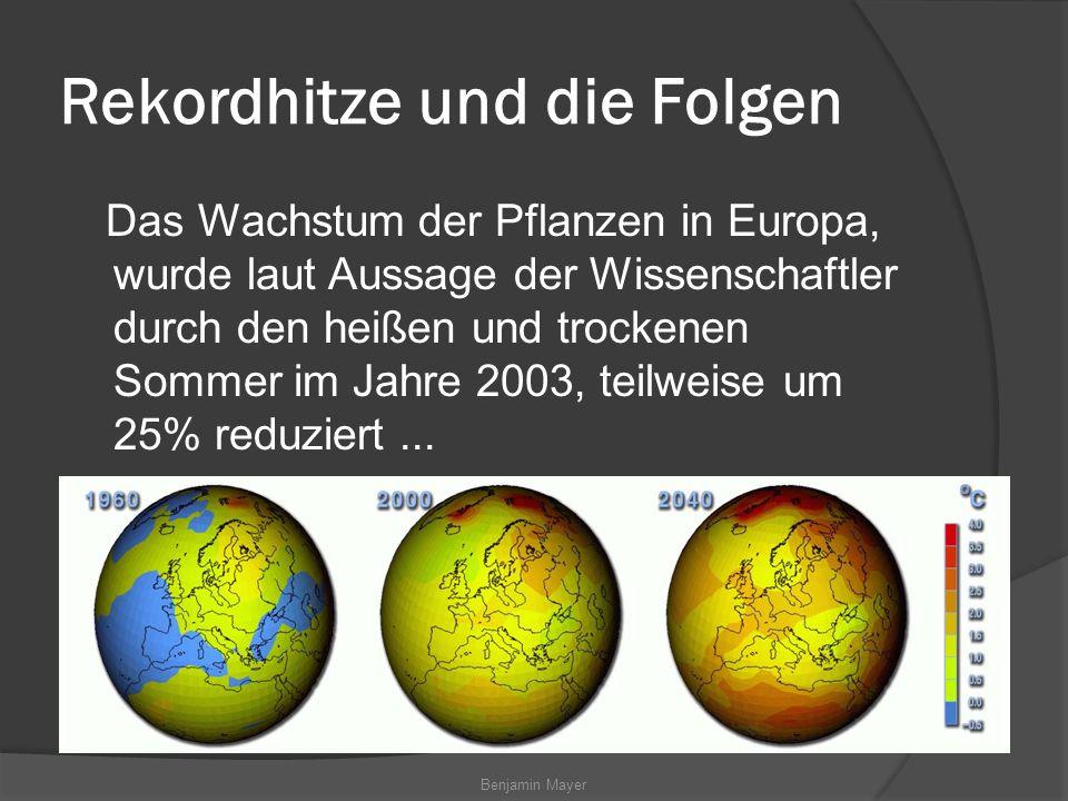 Benjamin Mayer Rekordhitze und die Folgen Das Wachstum der Pflanzen in Europa, wurde laut Aussage der Wissenschaftler durch den heißen und trockenen Sommer im Jahre 2003, teilweise um 25% reduziert...