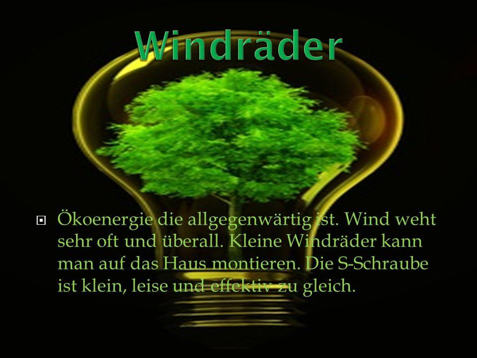Ökoenergie die allgegenwärtig ist. Wind weht sehr oft und überall. Kleine Windräder kann man auf das Haus montieren. Die S-Schraube ist klein, leise u
