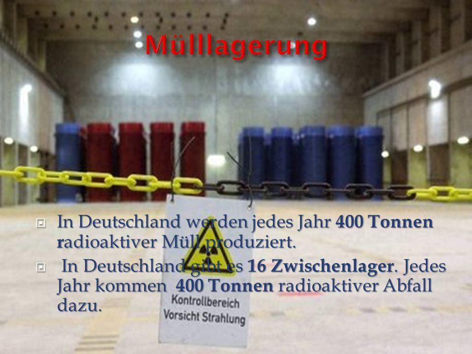 In Deutschland werden jedes Jahr 400 Tonnen r adioaktiver Müll produziert. In Deutschland werden jedes Jahr 400 Tonnen r adioaktiver Müll produziert.