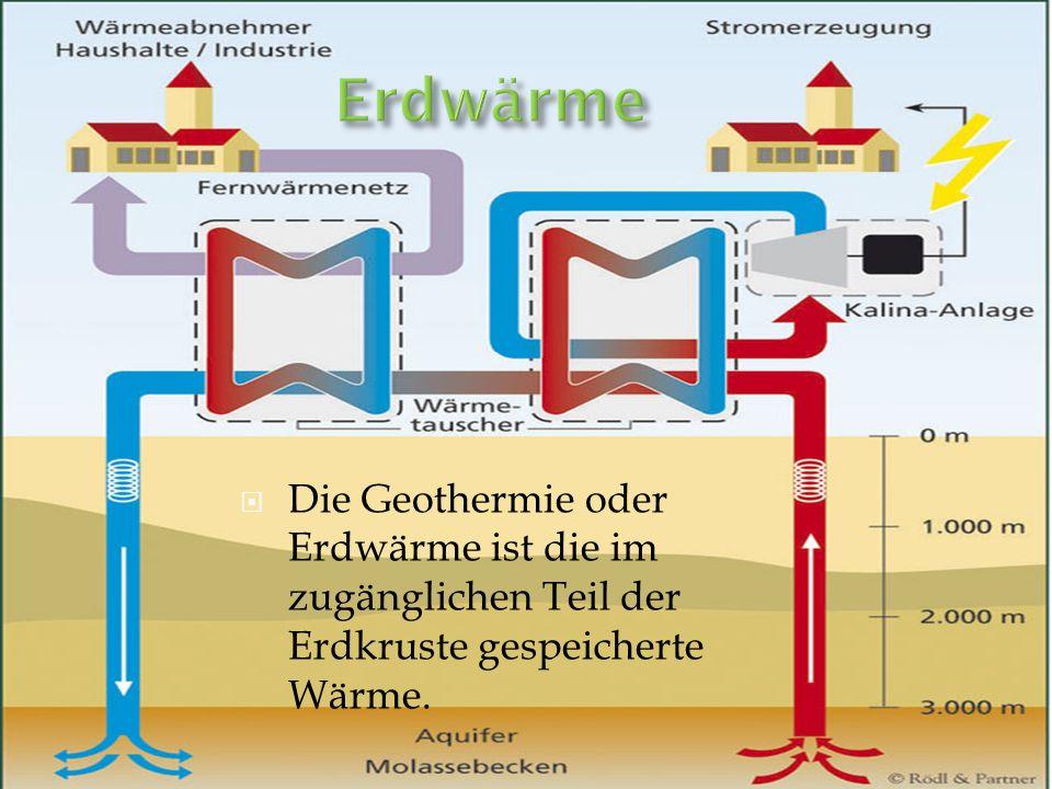 Die Geothermie oder Erdwärme ist die im zugänglichen Teil der Erdkruste gespeicherte Wärme.