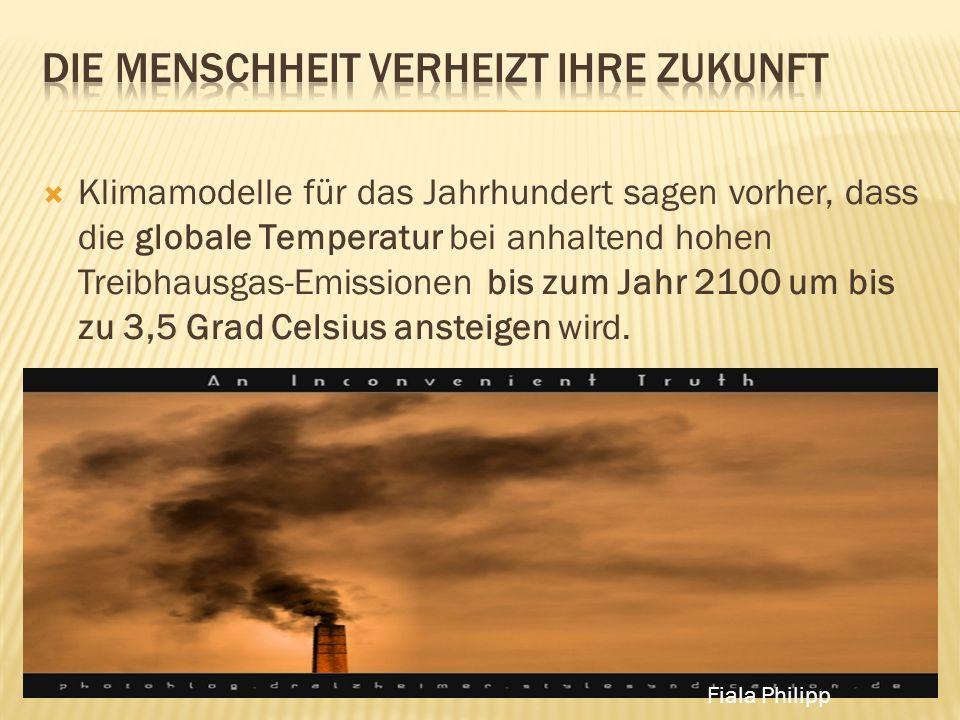 Klimamodelle für das Jahrhundert sagen vorher, dass die globale Temperatur bei anhaltend hohen Treibhausgas-Emissionen bis zum Jahr 2100 um bis zu 3,5