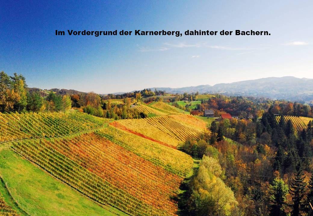 Im Vordergrund der Karnerberg, dahinter der Bachern.