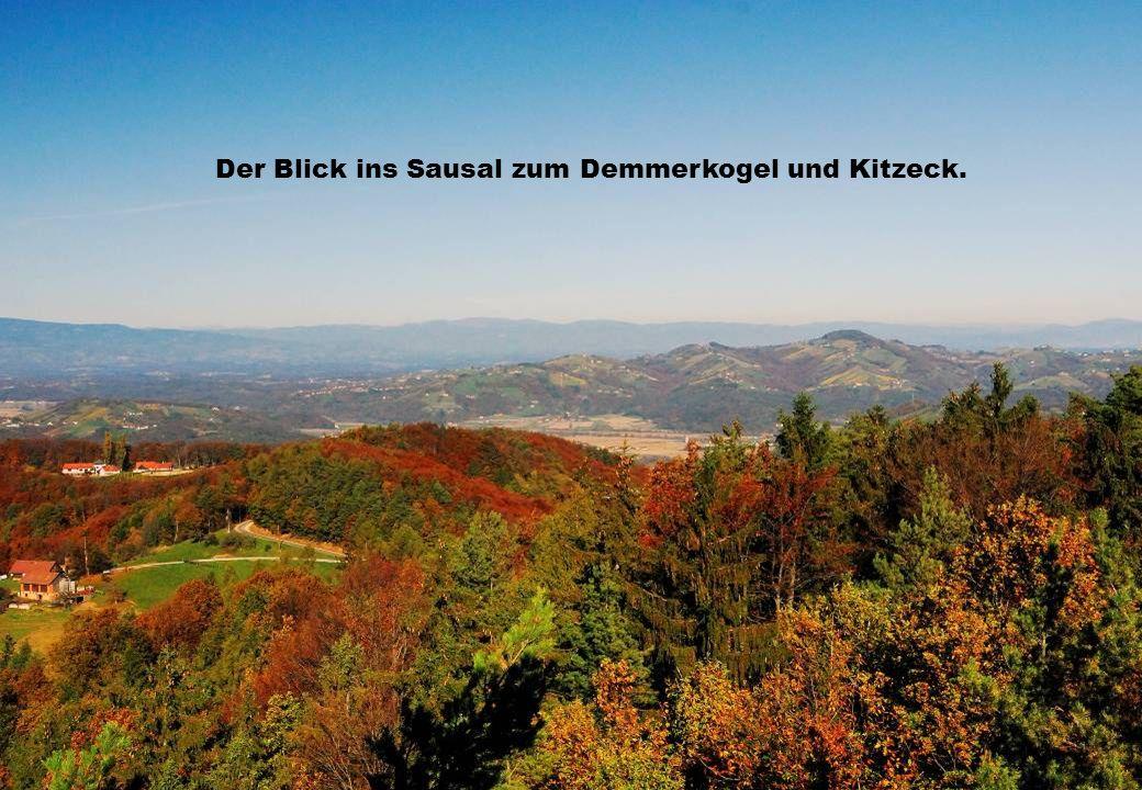 Der Blick ins Sausal zum Demmerkogel und Kitzeck.