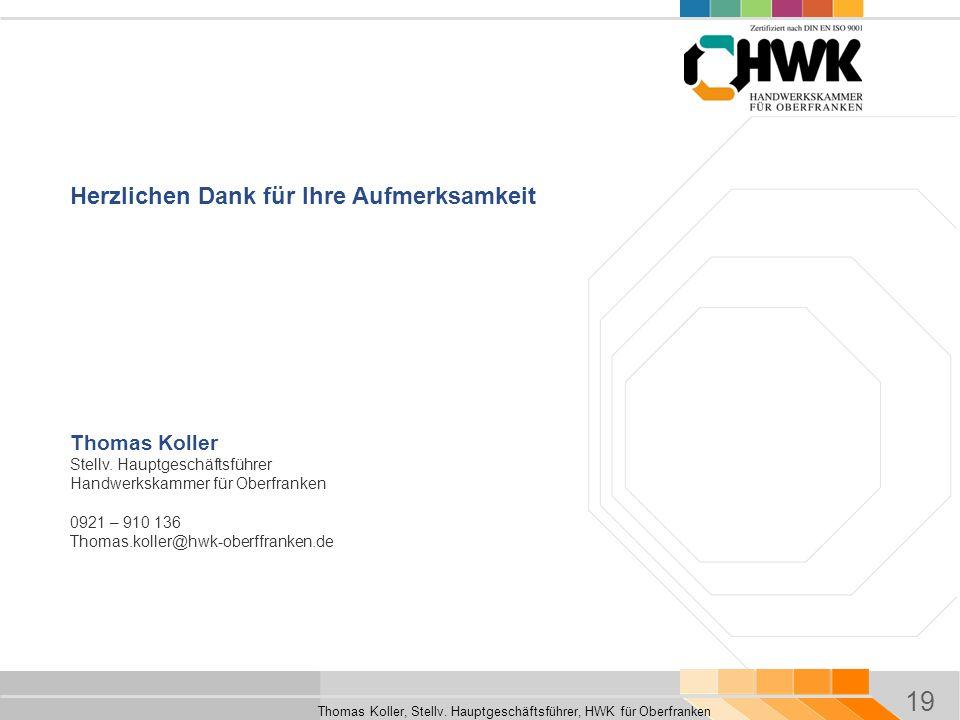 19 Thomas Koller, Stellv. Hauptgeschäftsführer, HWK für Oberfranken Herzlichen Dank für Ihre Aufmerksamkeit Thomas Koller Stellv. Hauptgeschäftsführer