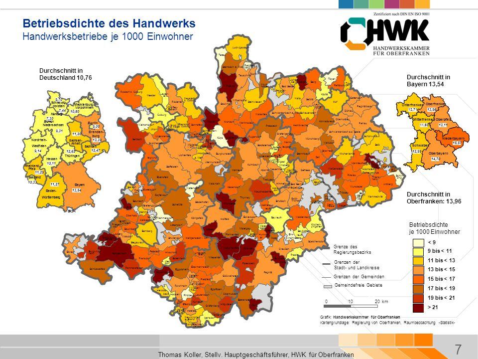 7 Thomas Koller, Stellv. Hauptgeschäftsführer, HWK für Oberfranken Regierungsbezirk Bamberg Coburg Hof Bayreuth Schirn- Arzberg Hohenberg Thiers- Mark