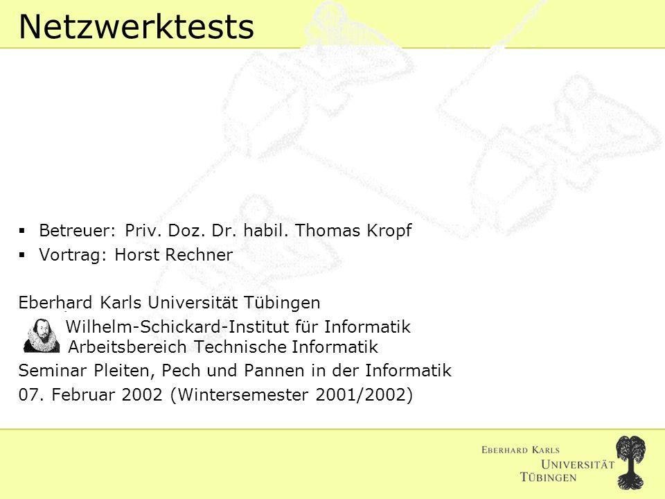 Horst Rechner 07. Februar 2002 Folie #1 Netzwerktests Betreuer: Priv.