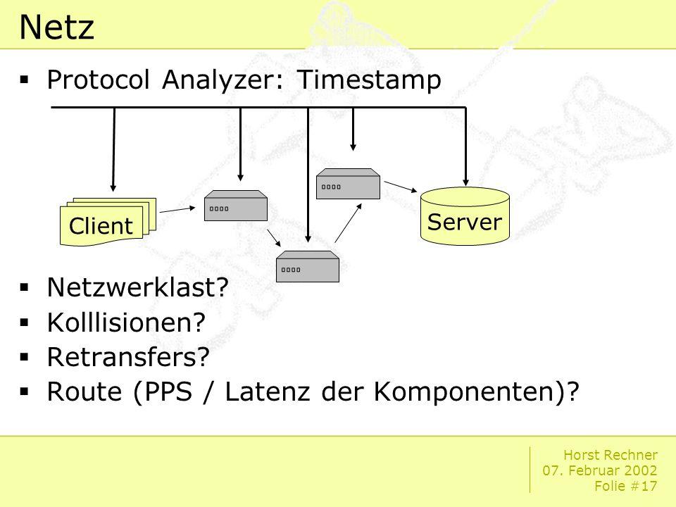 Horst Rechner 07. Februar 2002 Folie #17 Netz Protocol Analyzer: Timestamp Netzwerklast.