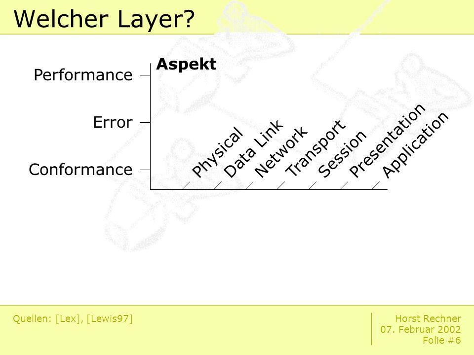 Horst Rechner 07. Februar 2002 Folie #6 Welcher Layer.