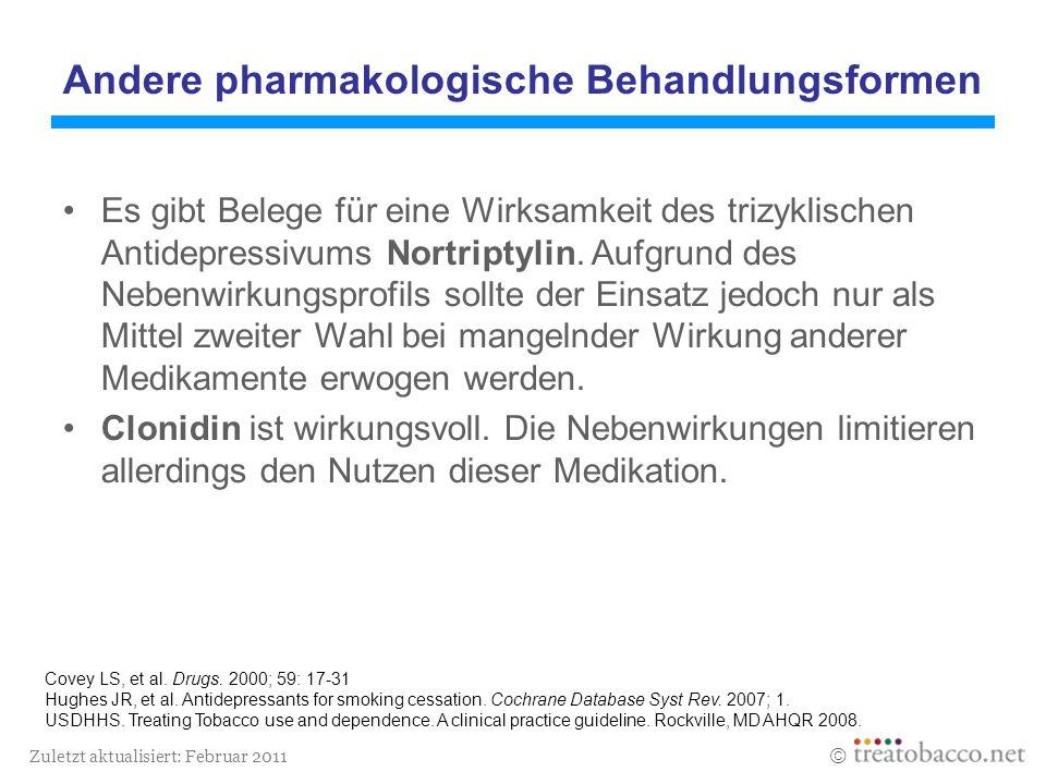 Zuletzt aktualisiert: Februar 2011 Covey LS, et al. Drugs. 2000; 59: 17-31 Hughes JR, et al. Antidepressants for smoking cessation. Cochrane Database