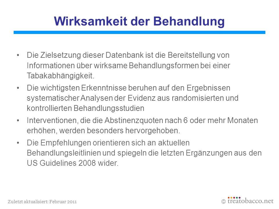 Zuletzt aktualisiert: Februar 2011 Wirksamkeit der Behandlung Die Zielsetzung dieser Datenbank ist die Bereitstellung von Informationen über wirksame