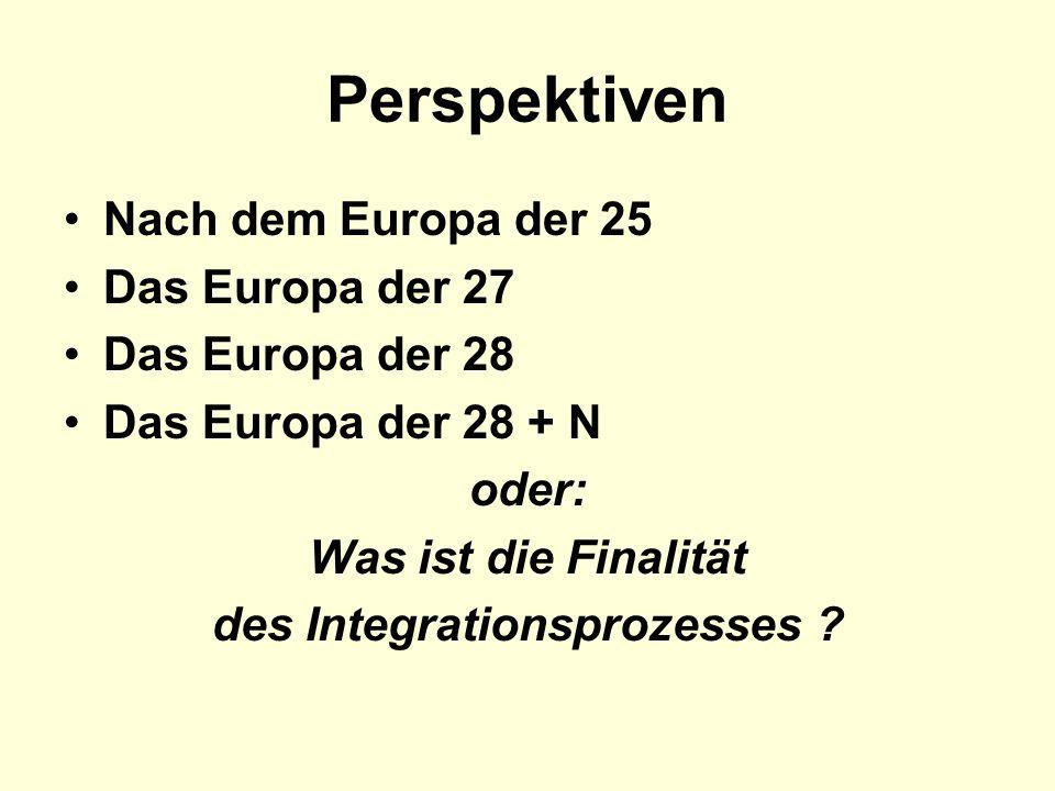 Perspektiven Nach dem Europa der 25 Das Europa der 27 Das Europa der 28 Das Europa der 28 + N oder: Was ist die Finalität des Integrationsprozesses ?